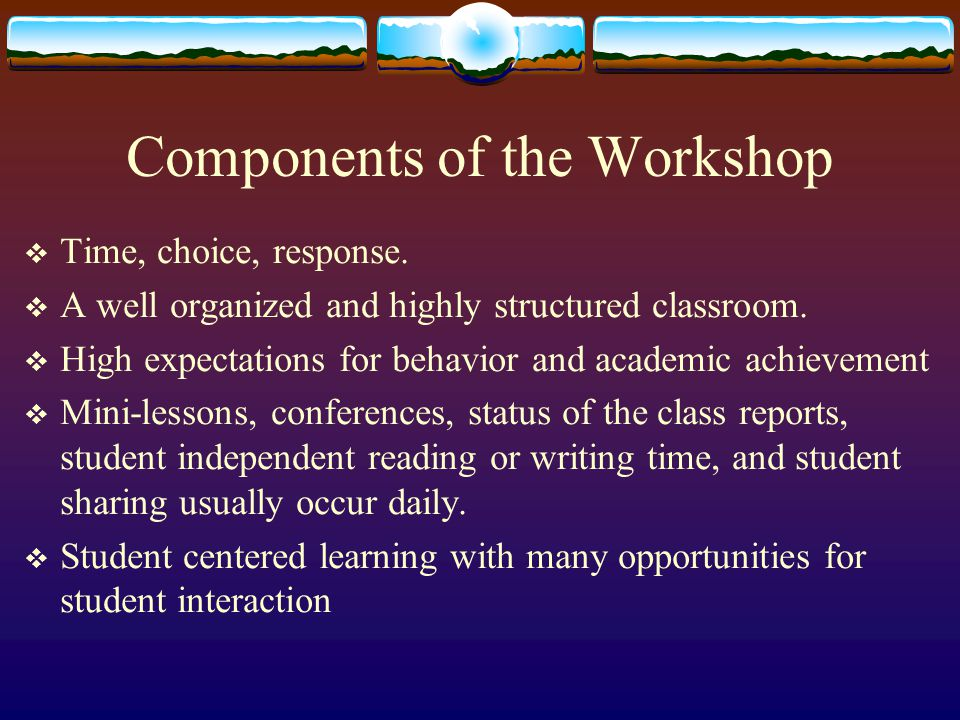 Components of the Workshop  Time, choice, response.