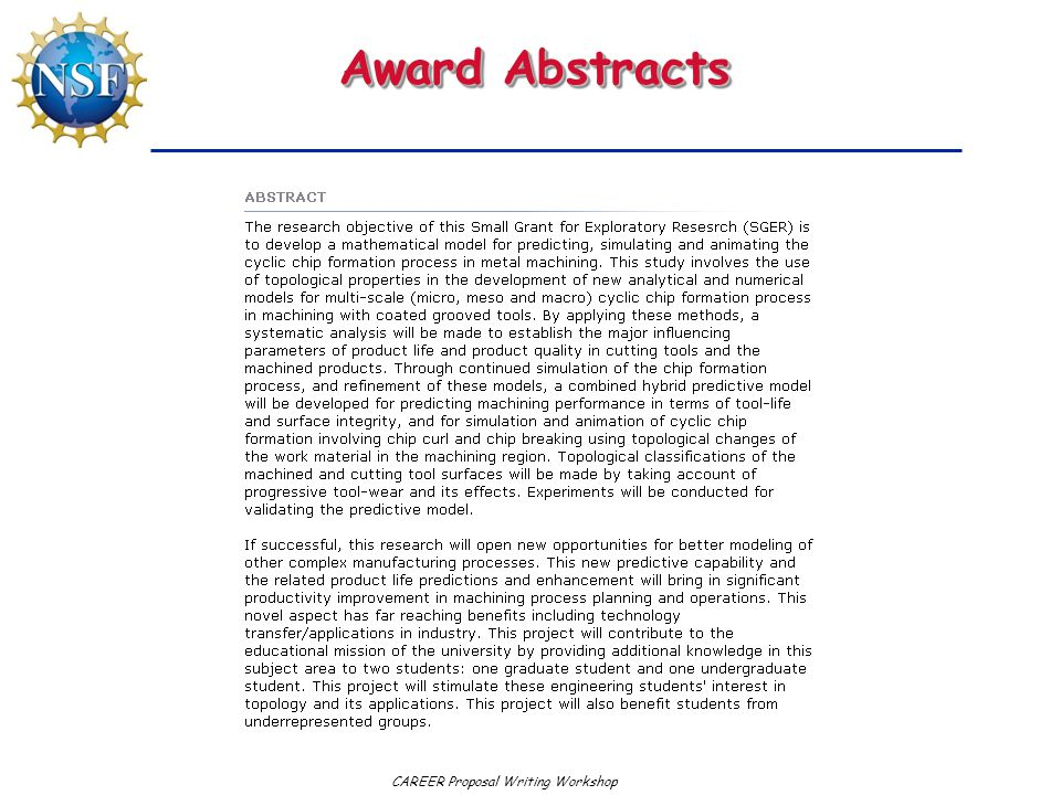 CAREER Proposal Writing Workshop Award Abstracts