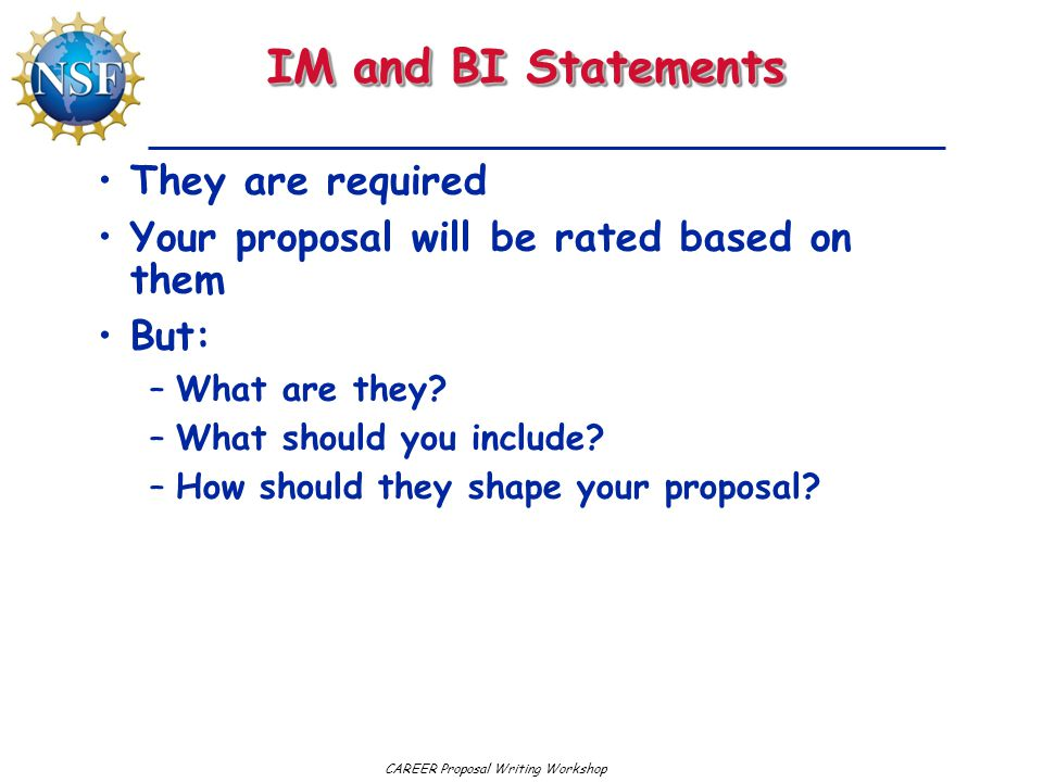 IM and BI Statements They are required Your proposal will be rated based on them But: –What are they.