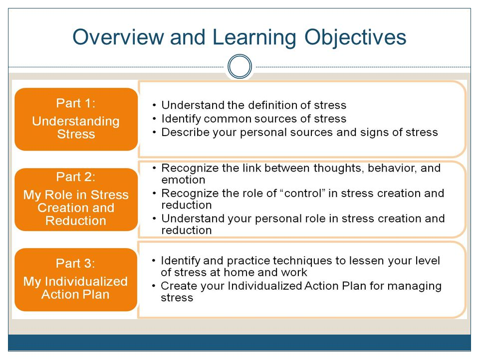 Activity 6: My Individualized Action Plan Individually, Turn to the last page of your Taking Care of Ourselves booklet and take a few minutes to develop your own action plan for future stressful situations Example: When [my stressor] (child whines) & I begin to feel [sign of stress] (tension ), I will [technique used] (use positive self statements).