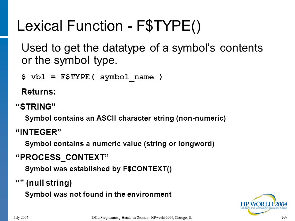 166 July 2004 DCL Programming Hands-on Session - HPworld 2004, Chicago, IL Lexical Function - F$TYPE() Used to get the datatype of a symbol's contents or the symbol type.