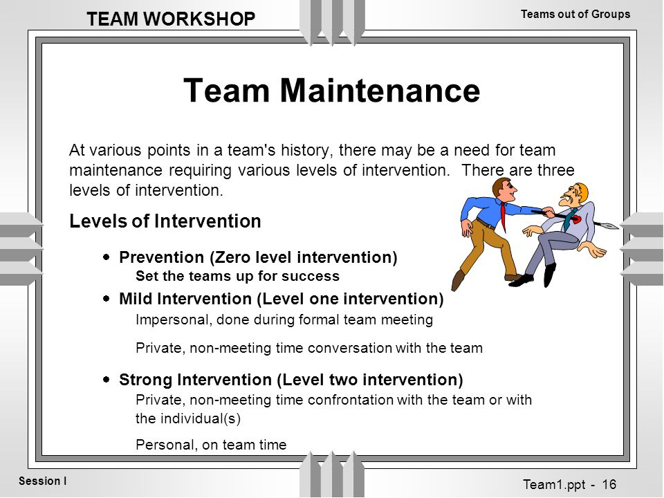 Teams out of Groups Session I TEAM WORKSHOP Team1.ppt - 16 Team Maintenance At various points in a team s history, there may be a need for team maintenance requiring various levels of intervention.