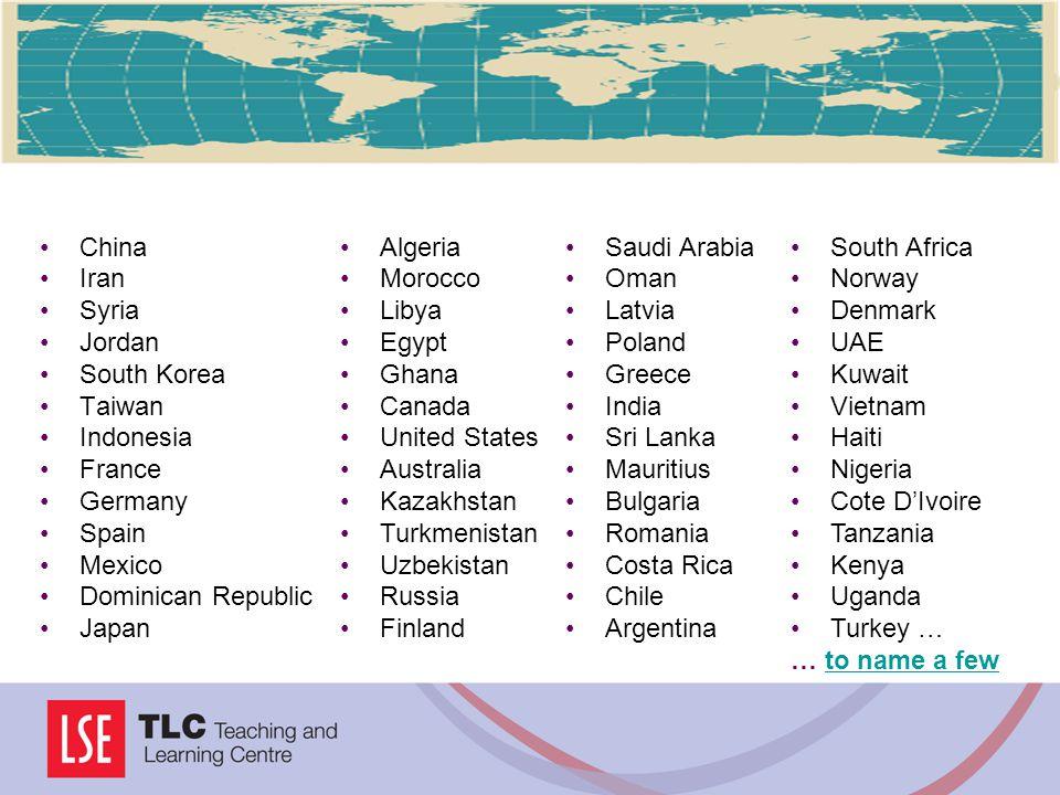 China Iran Syria Jordan South Korea Taiwan Indonesia France Germany Spain Mexico Dominican Republic Japan Algeria Morocco Libya Egypt Ghana Canada Uni