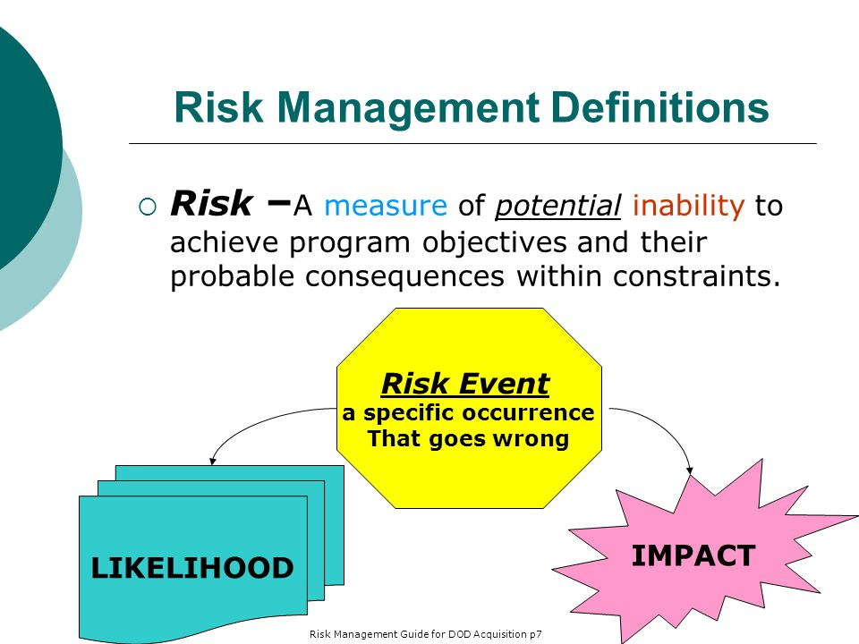 Risk Management Definitions  Risk – A measure of potential inability to achieve program objectives and their probable consequences within constraints.