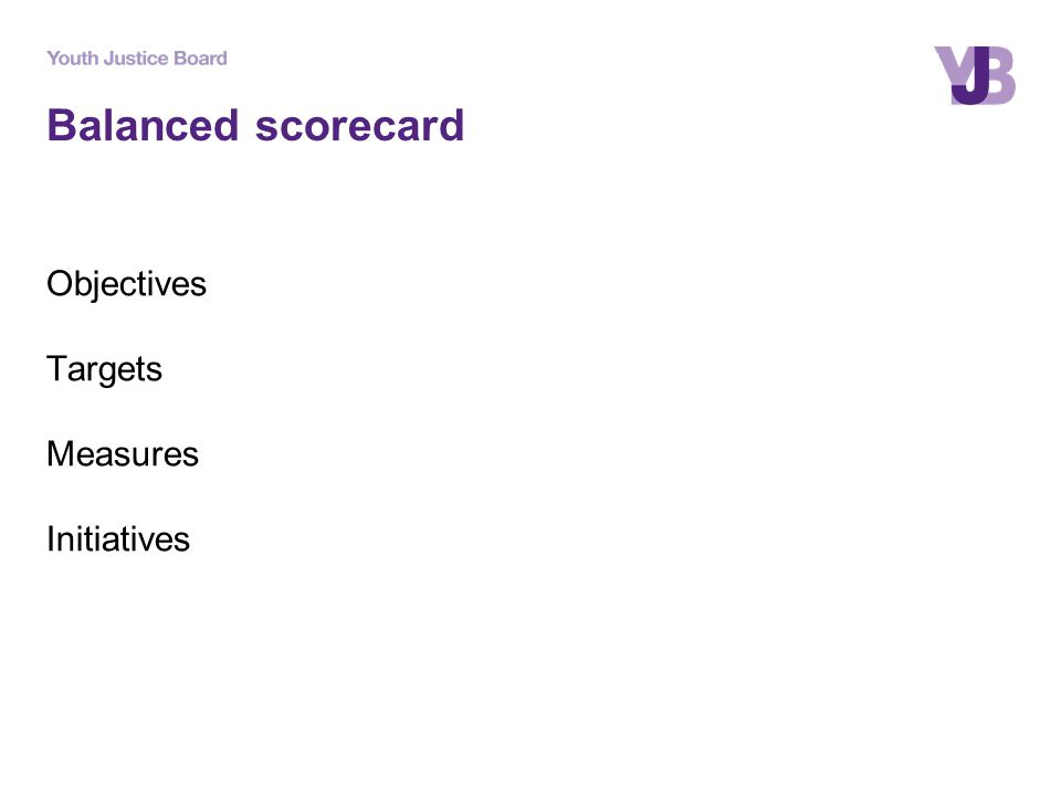 Balanced scorecard Objectives Targets Measures Initiatives
