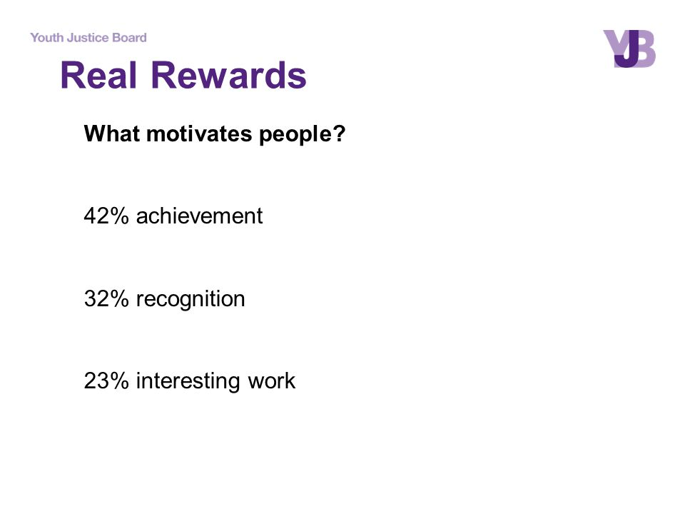 Real Rewards What motivates people? 42% achievement 32% recognition 23% interesting work