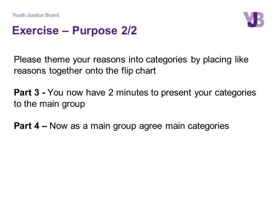 Exercise – Purpose 2/2 Please theme your reasons into categories by placing like reasons together onto the flip chart Part 3 - You now have 2 minutes to present your categories to the main group Part 4 – Now as a main group agree main categories