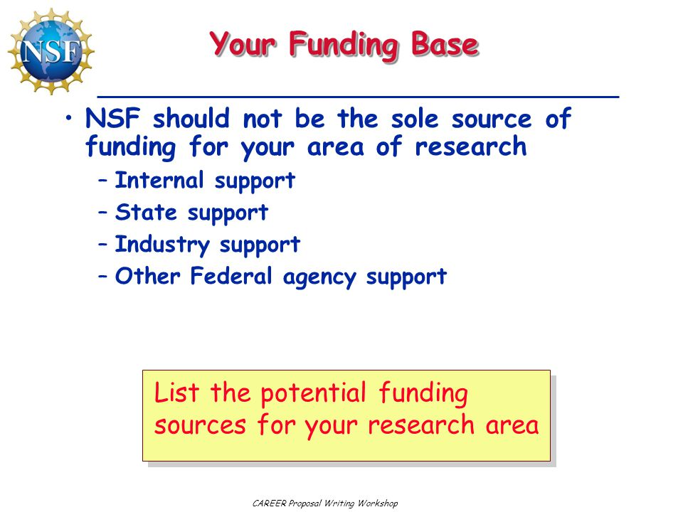 CAREER Proposal Writing Workshop Your Funding Base NSF should not be the sole source of funding for your area of research –Internal support –State support –Industry support –Other Federal agency support List the potential funding sources for your research area