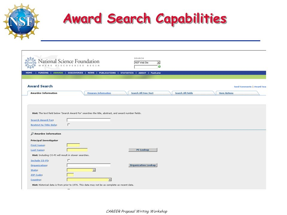 CAREER Proposal Writing Workshop Award Search Capabilities