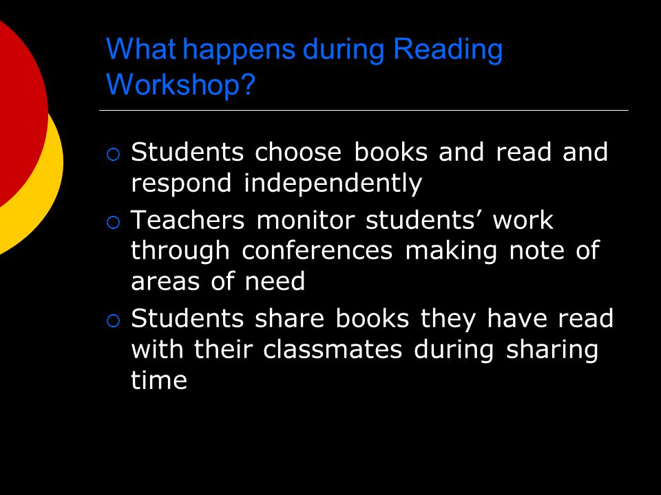 Reading Workshop Schedule/Components: 20-30 minutes or 50 minutes every other day  Teacher Sharing Time (5-10 minutes) Reads aloud / Teacher sells a book  Workshop Time (35 minutes) Mini-lesson (5-10 minutes) State of the class (5 minutes) Independent reading Responding to independent reading Conferencing Record keeping Reading project  Student Sharing Time (5-10 minutes)