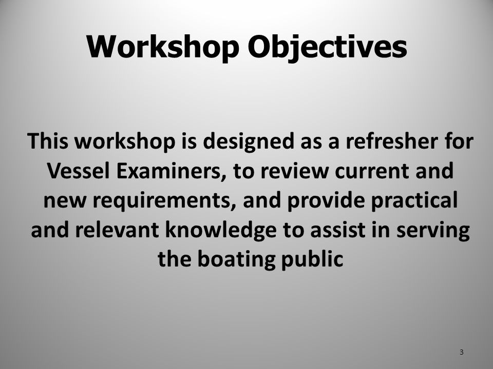 This workshop is designed as a refresher for Vessel Examiners, to review current and new requirements, and provide practical and relevant knowledge to