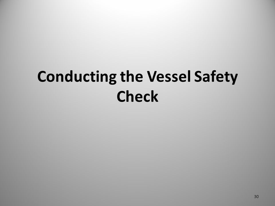 Conducting the Vessel Safety Check 30