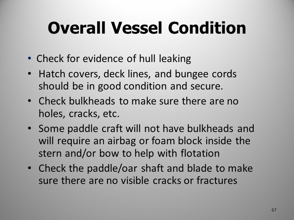 Check for evidence of hull leaking Hatch covers, deck lines, and bungee cords should be in good condition and secure. Check bulkheads to make sure the