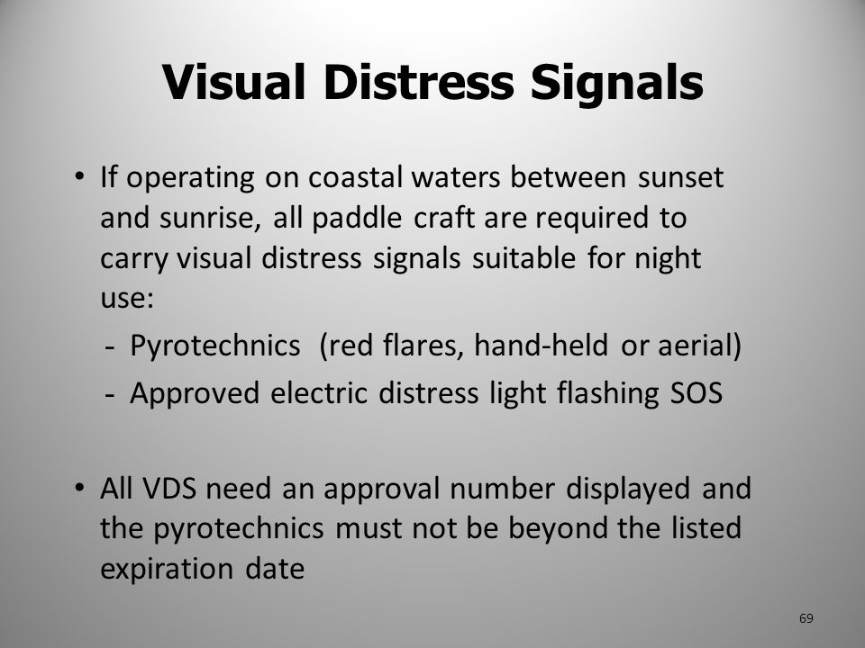 If operating on coastal waters between sunset and sunrise, all paddle craft are required to carry visual distress signals suitable for night use: - Py