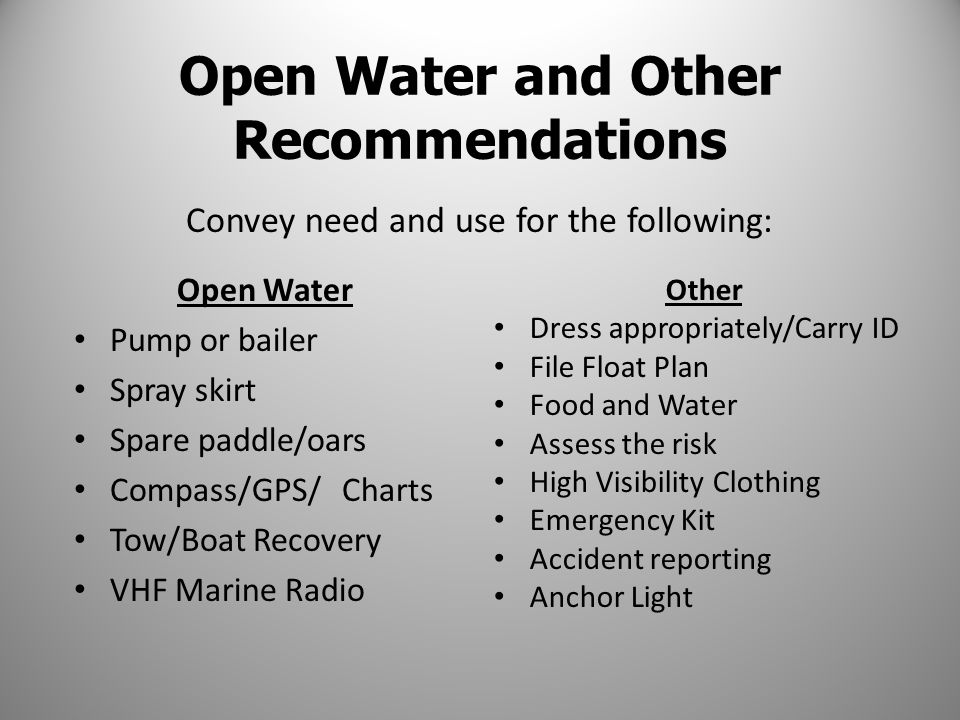 Open Water Pump or bailer Spray skirt Spare paddle/oars Compass/GPS/ Charts Tow/Boat Recovery VHF Marine Radio Other Dress appropriately/Carry ID File