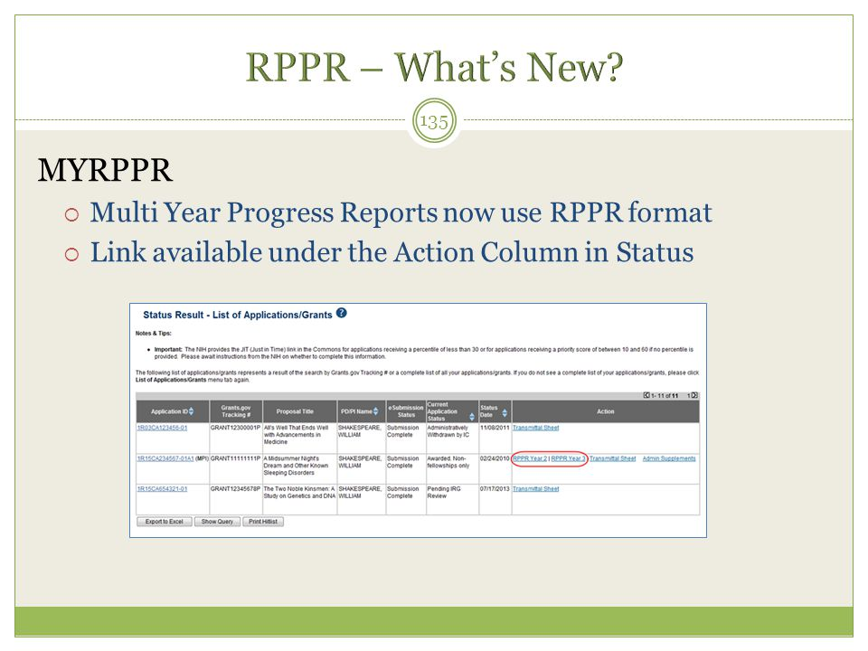 MYRPPR  Multi Year Progress Reports now use RPPR format  Link available under the Action Column in Status 135