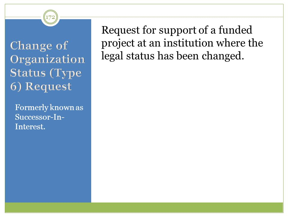 Formerly known as Successor-In- Interest. Request for support of a funded project at an institution where the legal status has been changed. 172