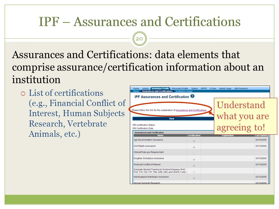 Assurances and Certifications: data elements that comprise assurance/certification information about an institution  List of certifications (e.g., Fi