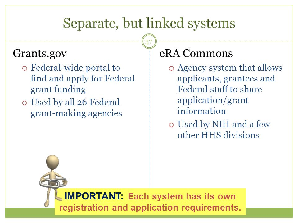 Grants.gov  Federal-wide portal to find and apply for Federal grant funding  Used by all 26 Federal grant-making agencies eRA Commons  Agency syste