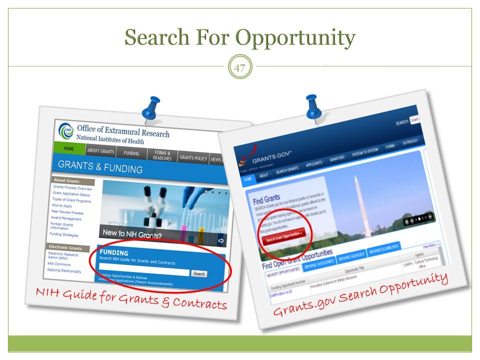 47 NIH Guide for Grants & Contracts Grants.gov Search Opportunity