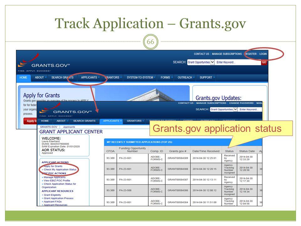 66 Grants.gov application status