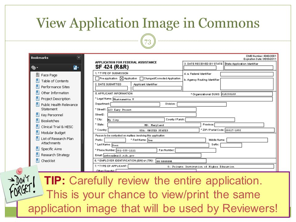 73 TIP: Carefully review the entire application. This is your chance to view/print the same application image that will be used by Reviewers!