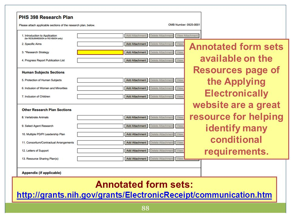 88 Annotated form sets available on the Resources page of the Applying Electronically website are a great resource for helping identify many condition