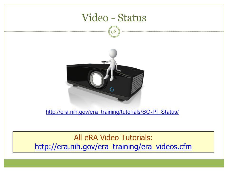 98 All eRA Video Tutorials: http://era.nih.gov/era_training/era_videos.cfm http://era.nih.gov/era_training/tutorials/SO-PI_Status/