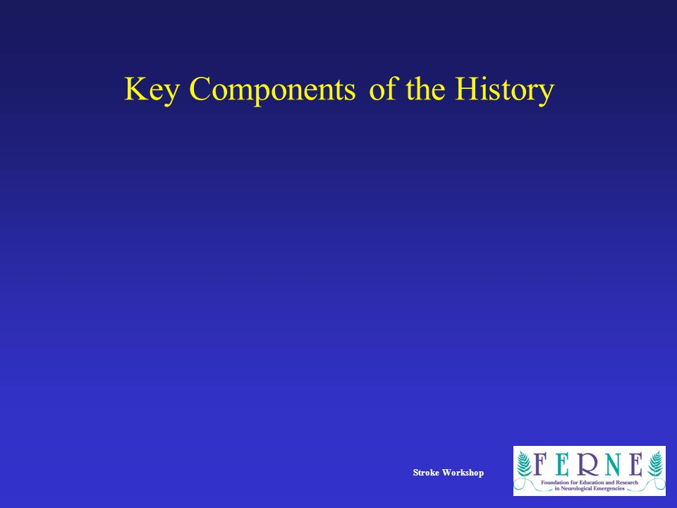 Stroke Workshop Key Components of the History