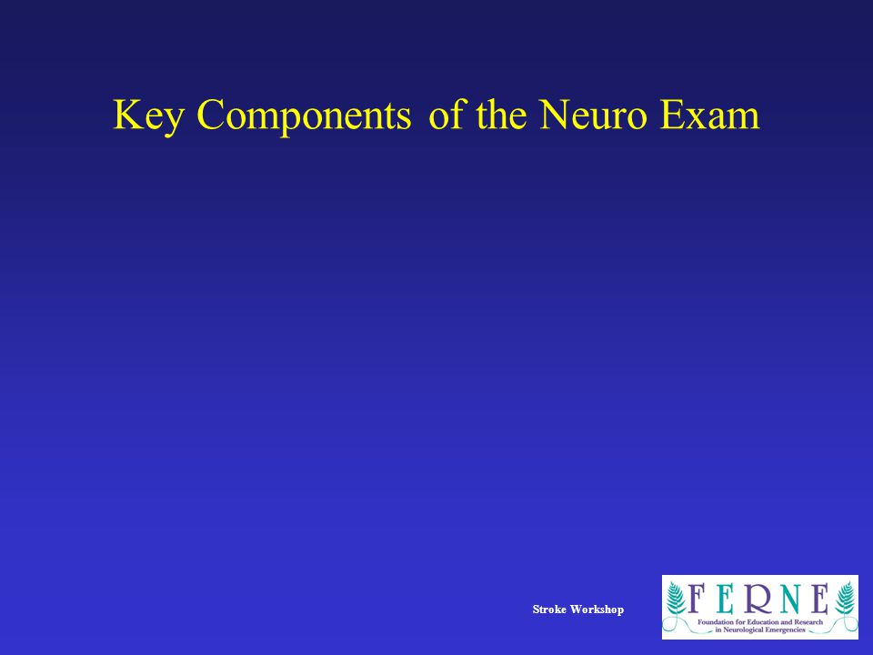 Stroke Workshop Key Components of the Neuro Exam