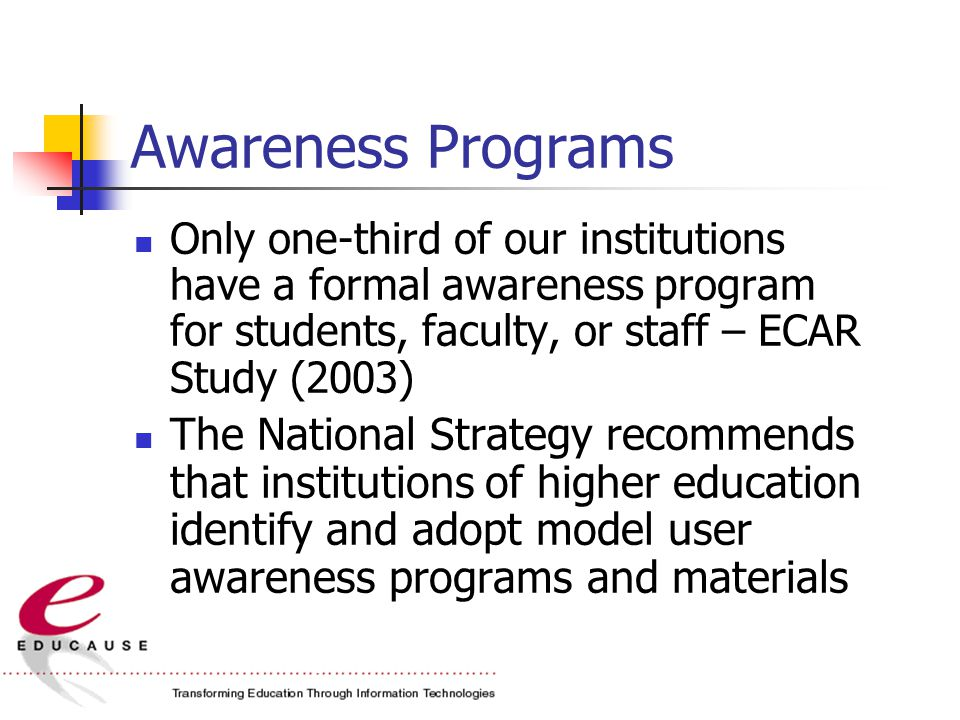 Awareness Programs Only one-third of our institutions have a formal awareness program for students, faculty, or staff – ECAR Study (2003) The National Strategy recommends that institutions of higher education identify and adopt model user awareness programs and materials