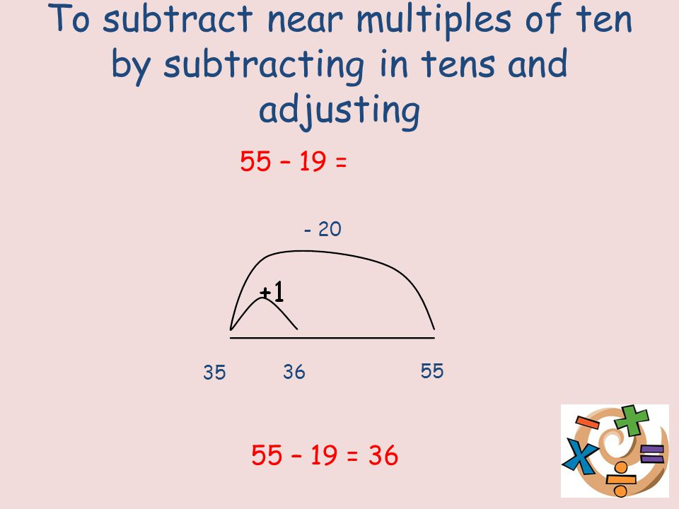 To subtract near multiples of ten by subtracting in tens and adjusting - 20 35 36 55 55 – 19 = 55 – 19 = 36