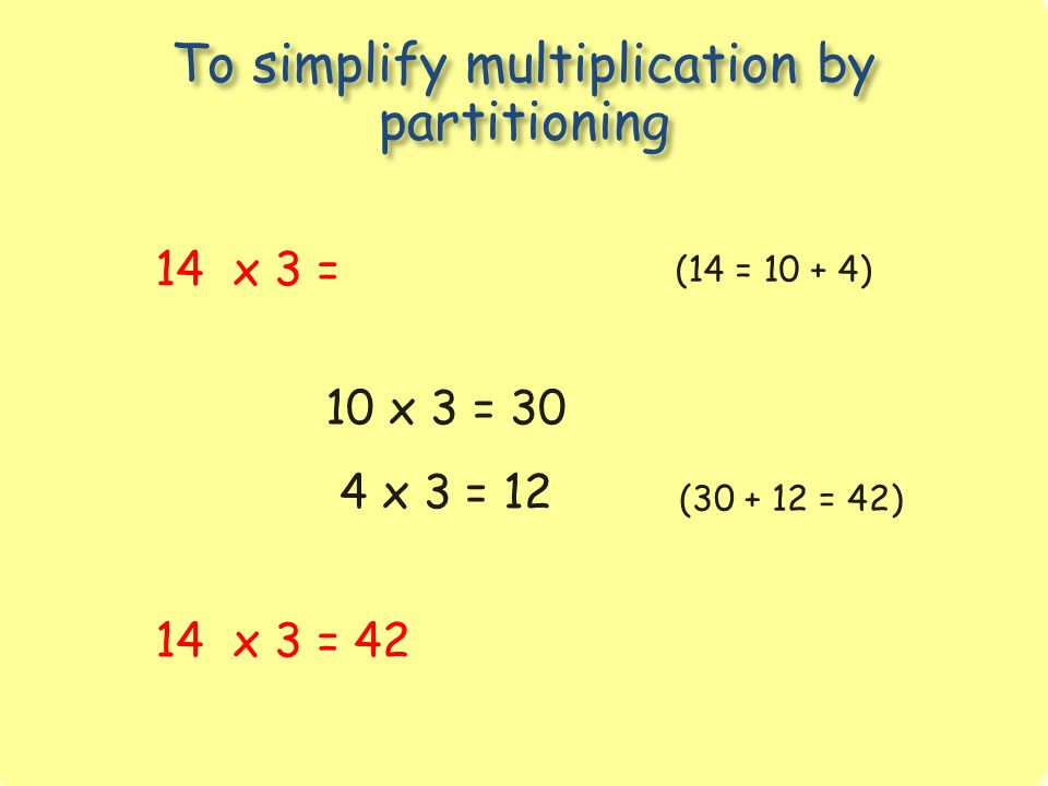 To simplify multiplication by partitioning 14 x 3 = (14 = 10 + 4) 10 x 3 = 30 4 x 3 = 12 14 x 3 = 42 (30 + 12 = 42)