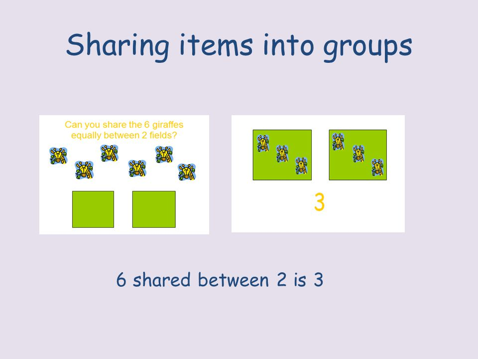 Sharing items into groups 6 shared between 2 is 3