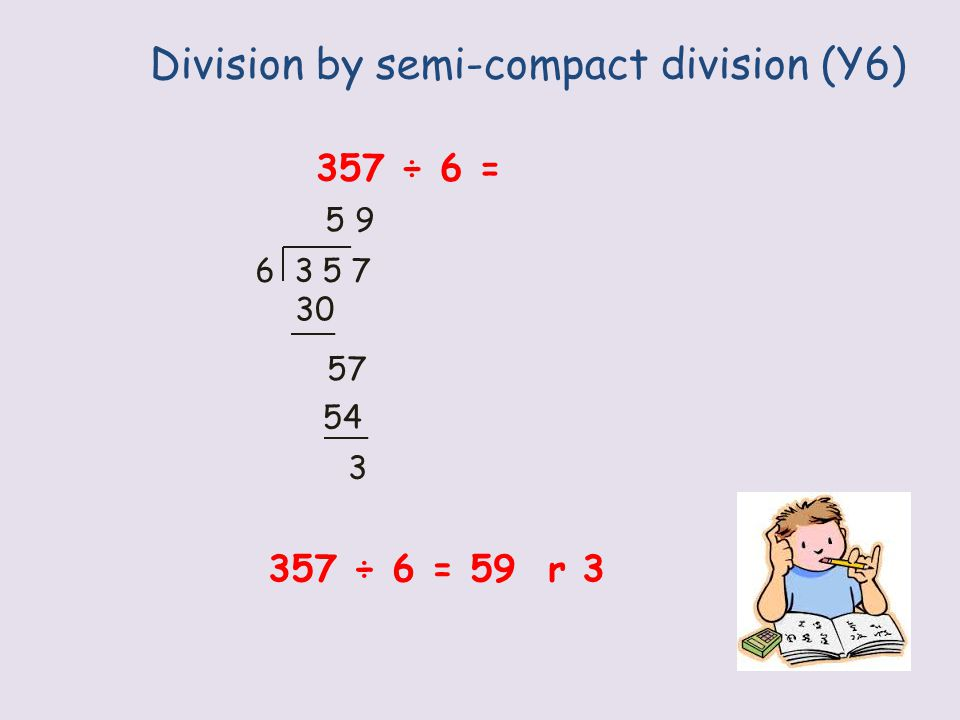 Division by compact method (Y6) 357 ÷ 6 = 5 6 3 5 7 5 9 r 3 357 ÷ 6 = 59 r 3