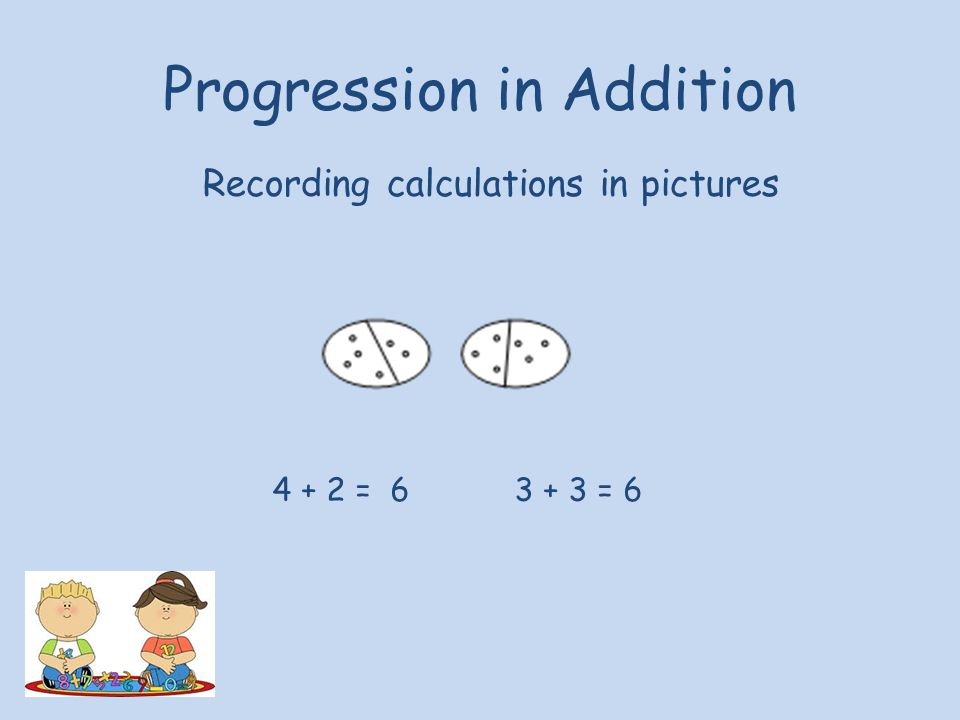 Progression in Addition Recording calculations in pictures 4 + 2 = 6 3 + 3 = 6
