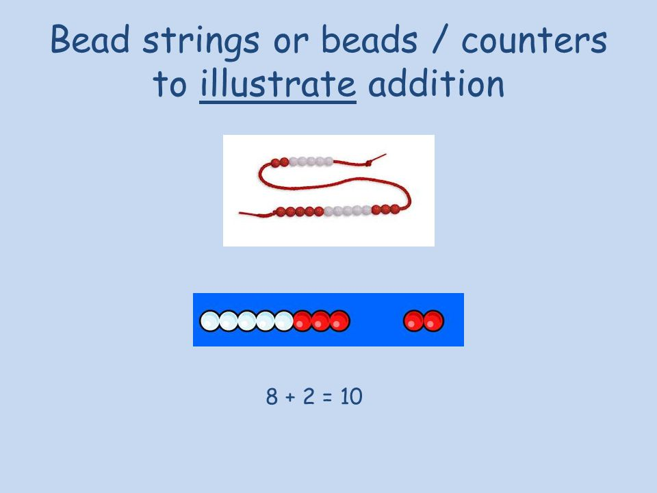Bead strings or beads / counters to illustrate addition 8 + 2 = 10