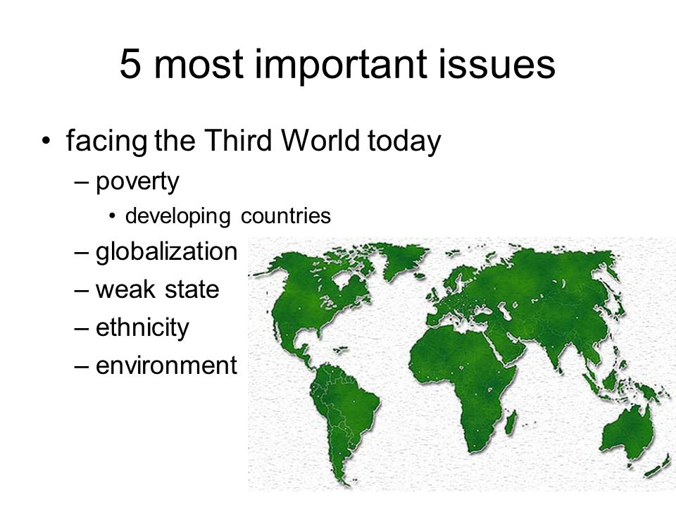 5 most important issues facing the Third World today –poverty developing countries –globalization –weak state –ethnicity –environment