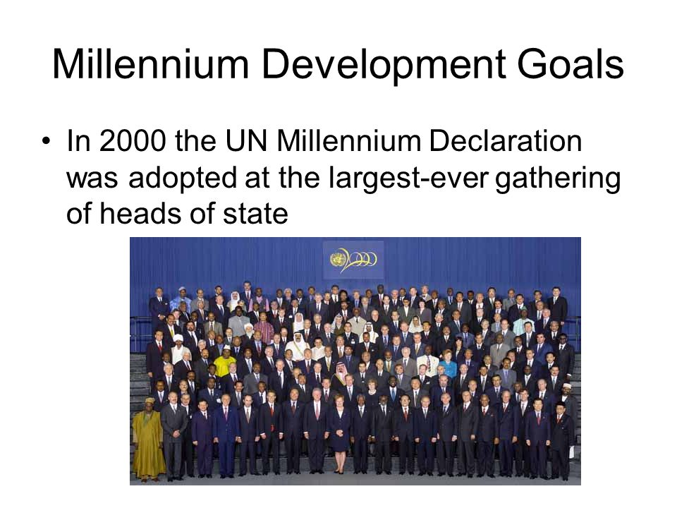 Millennium Development Goals In 2000 the UN Millennium Declaration was adopted at the largest-ever gathering of heads of state