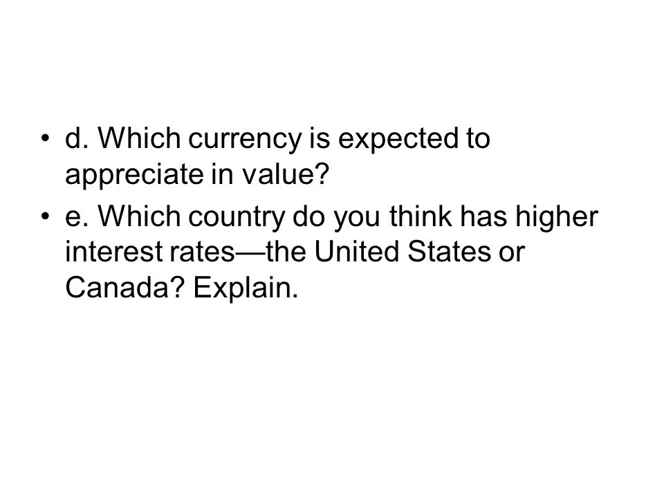 4.a.The U.S. dollar, since one Canadian dollar will buy: (Can$1)/(Can$1.26/$1) = $0.7937 b.