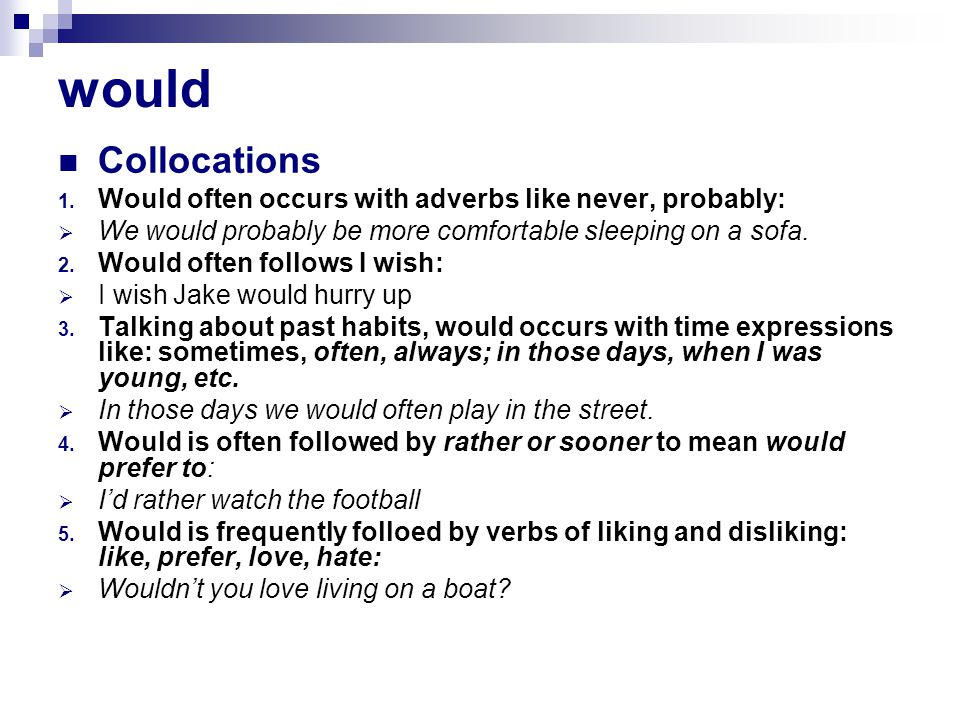would Collocations 1.