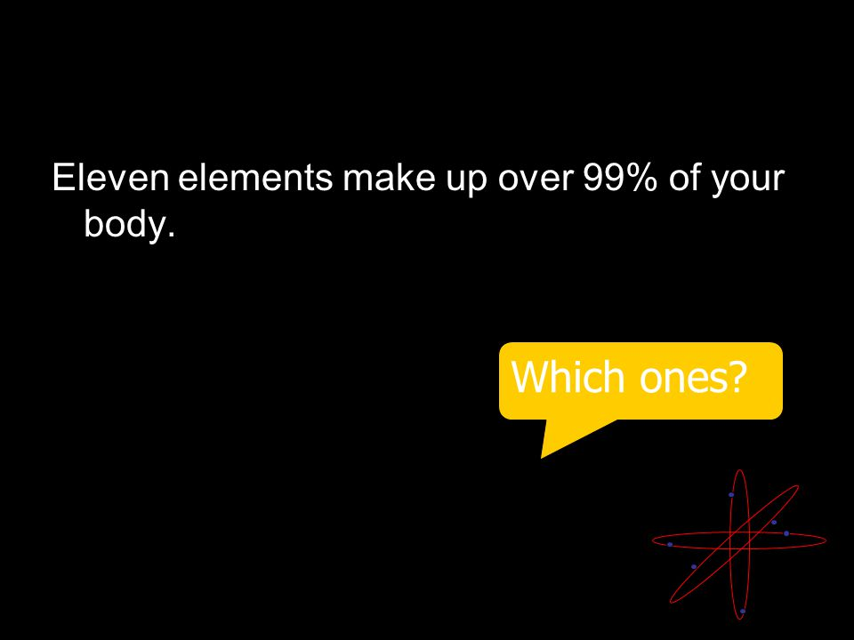 ELEMENT: Eleven elements make up over 99% of your body. Which ones