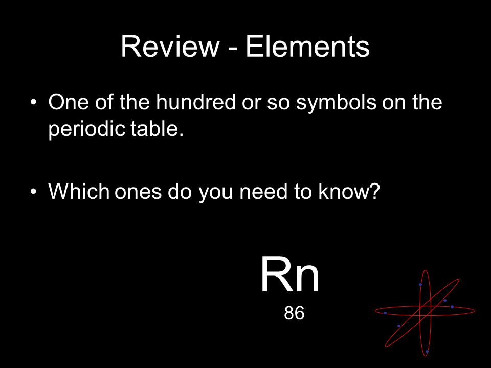 Review - Elements One of the hundred or so symbols on the periodic table.