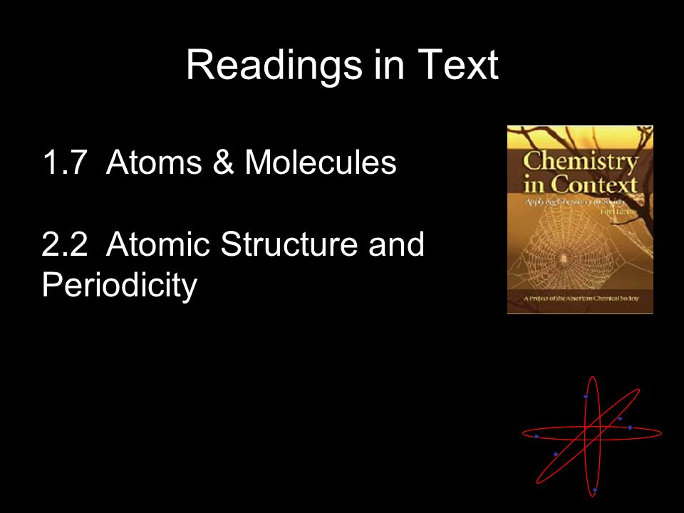 Readings in Text 1.7 Atoms & Molecules 2.2 Atomic Structure and Periodicity