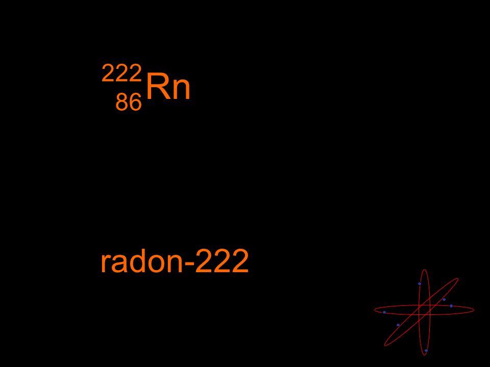 Rn radon-222 222 86