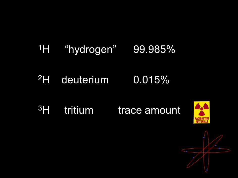 1 H hydrogen % 2 H deuterium 0.015% 3 H tritium trace amount
