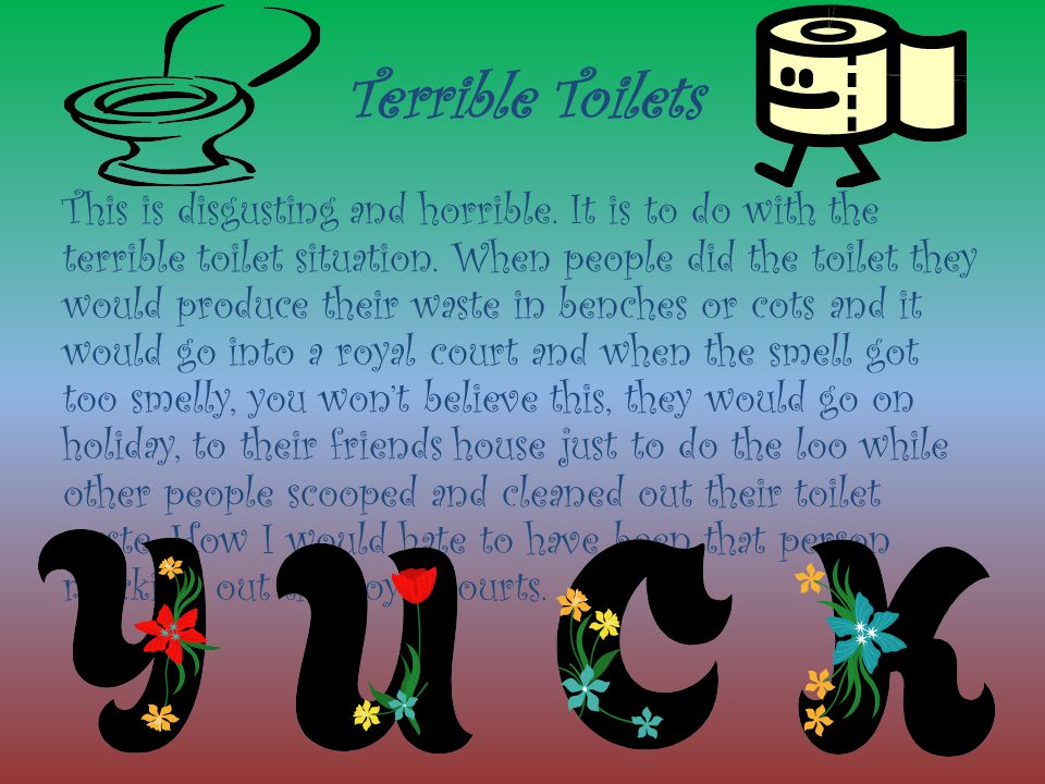 Terrible Toilets This is disgusting and horrible. It is to do with the terrible toilet situation. When people did the toilet they would produce their