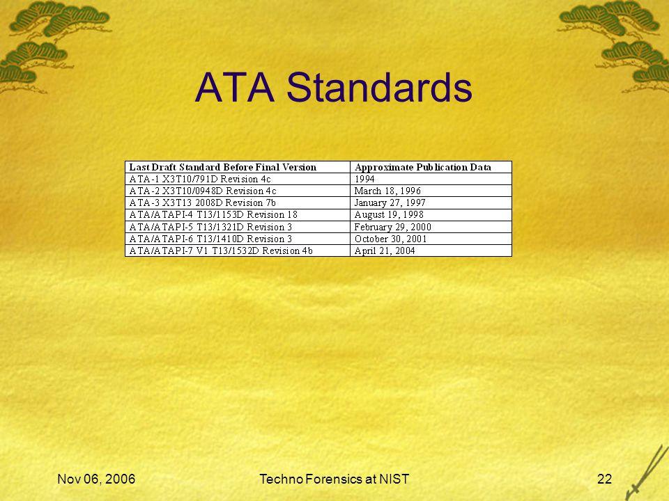 Nov 06, 2006Techno Forensics at NIST22 ATA Standards