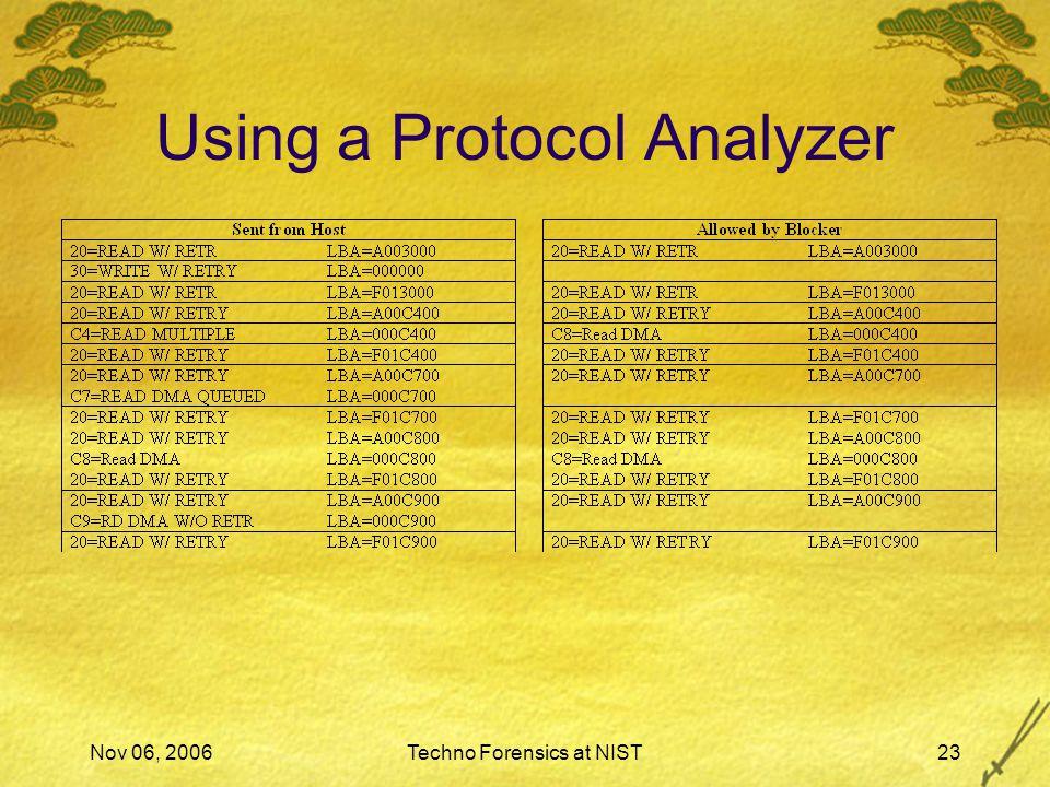 Nov 06, 2006Techno Forensics at NIST23 Using a Protocol Analyzer