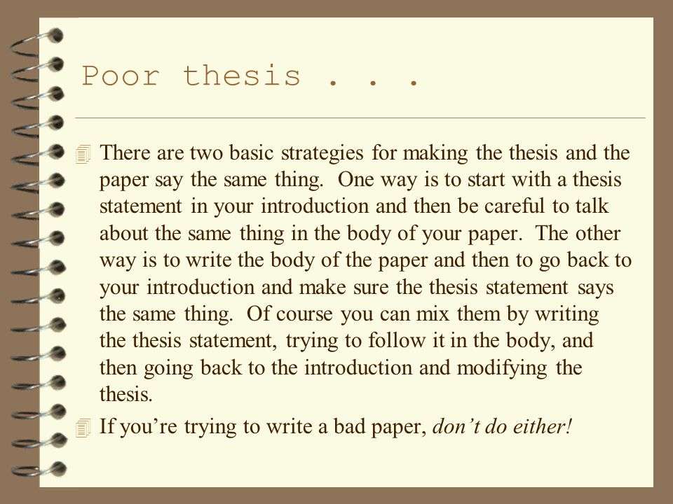 Poor thesis...